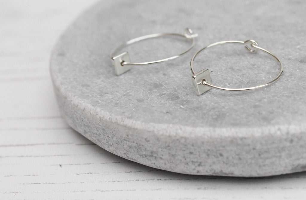 Handmade Sterling Silver Square Charm Hoops