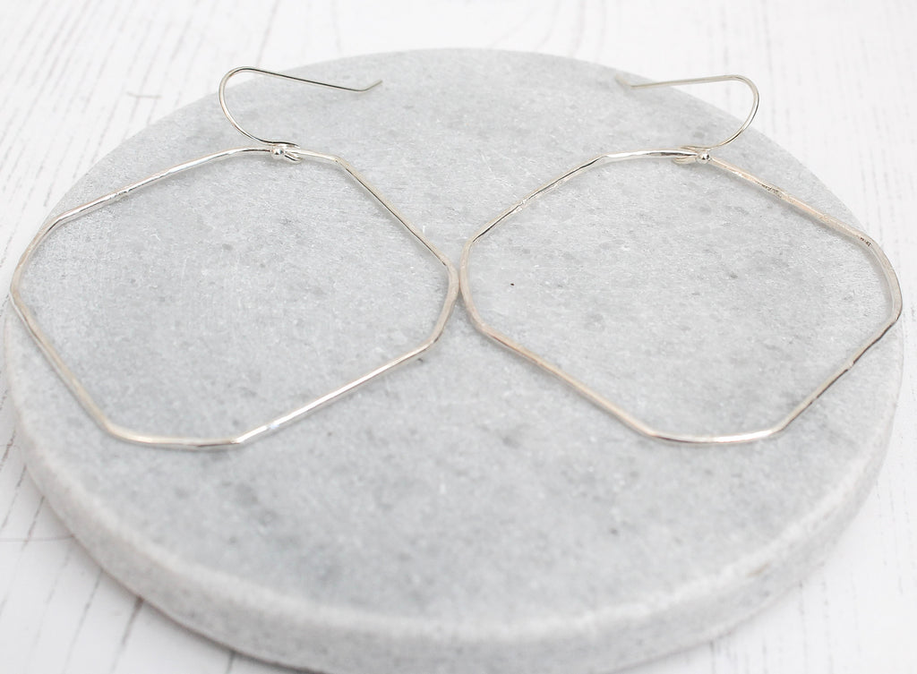 sterling silver square wire hoop earrings, handmade by Lucy Kemp Jewellery in Cornwall