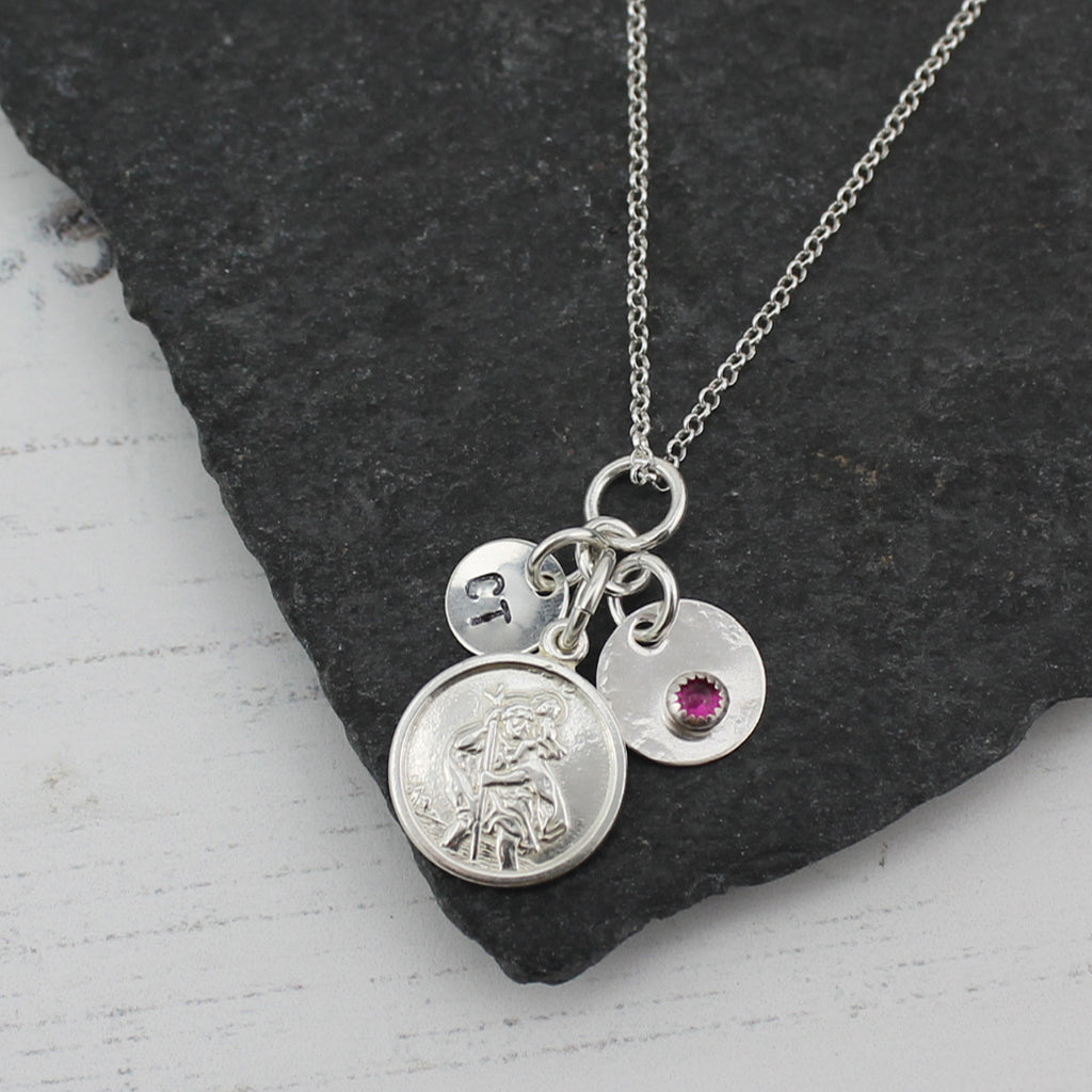 Sterling silver St Christopher Cluster Necklace with real semi precious birthstones by Lucy Kemp Jewellery
