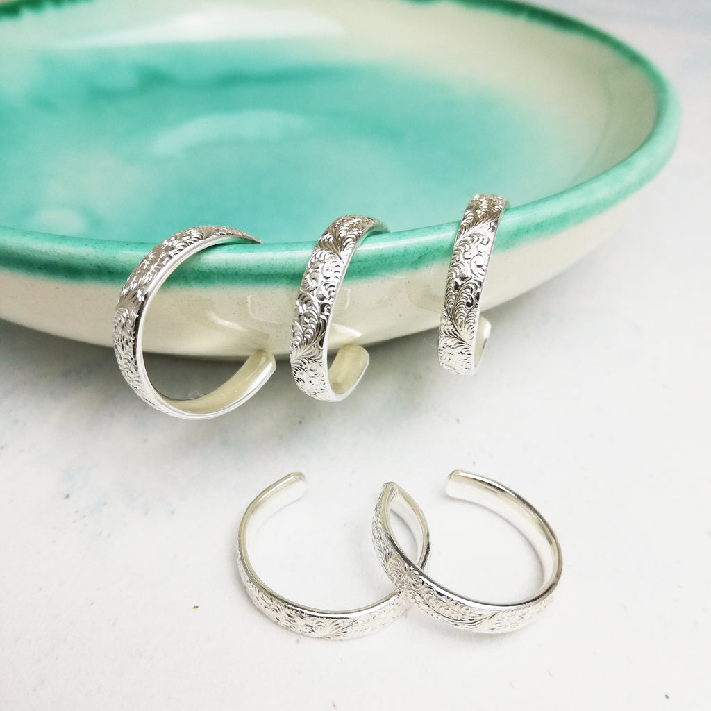 Sterling silver, recycled sterling silver lace textured toe rings, handmade by Lucy Kemp Jewellery