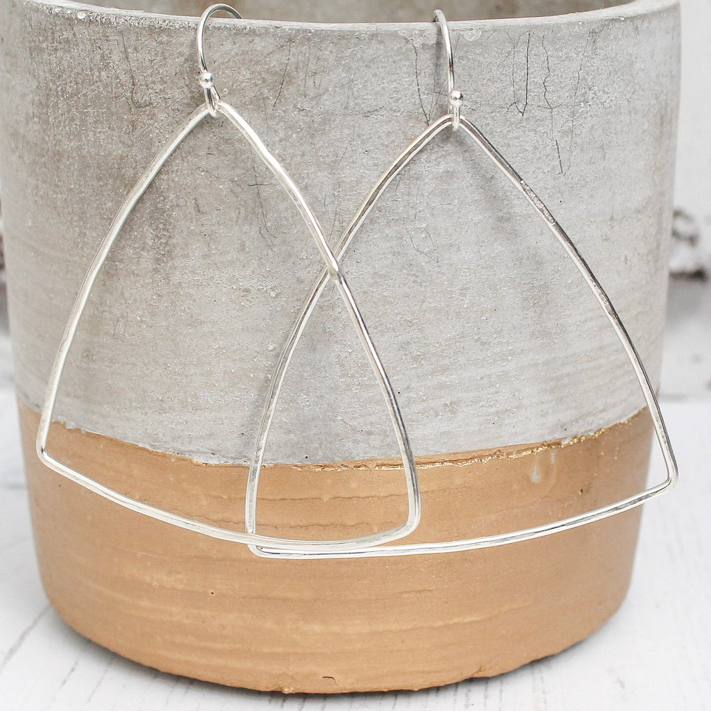 sterling silver wire triangle hoop earrings, made by Lucy Kemp Jewellery
