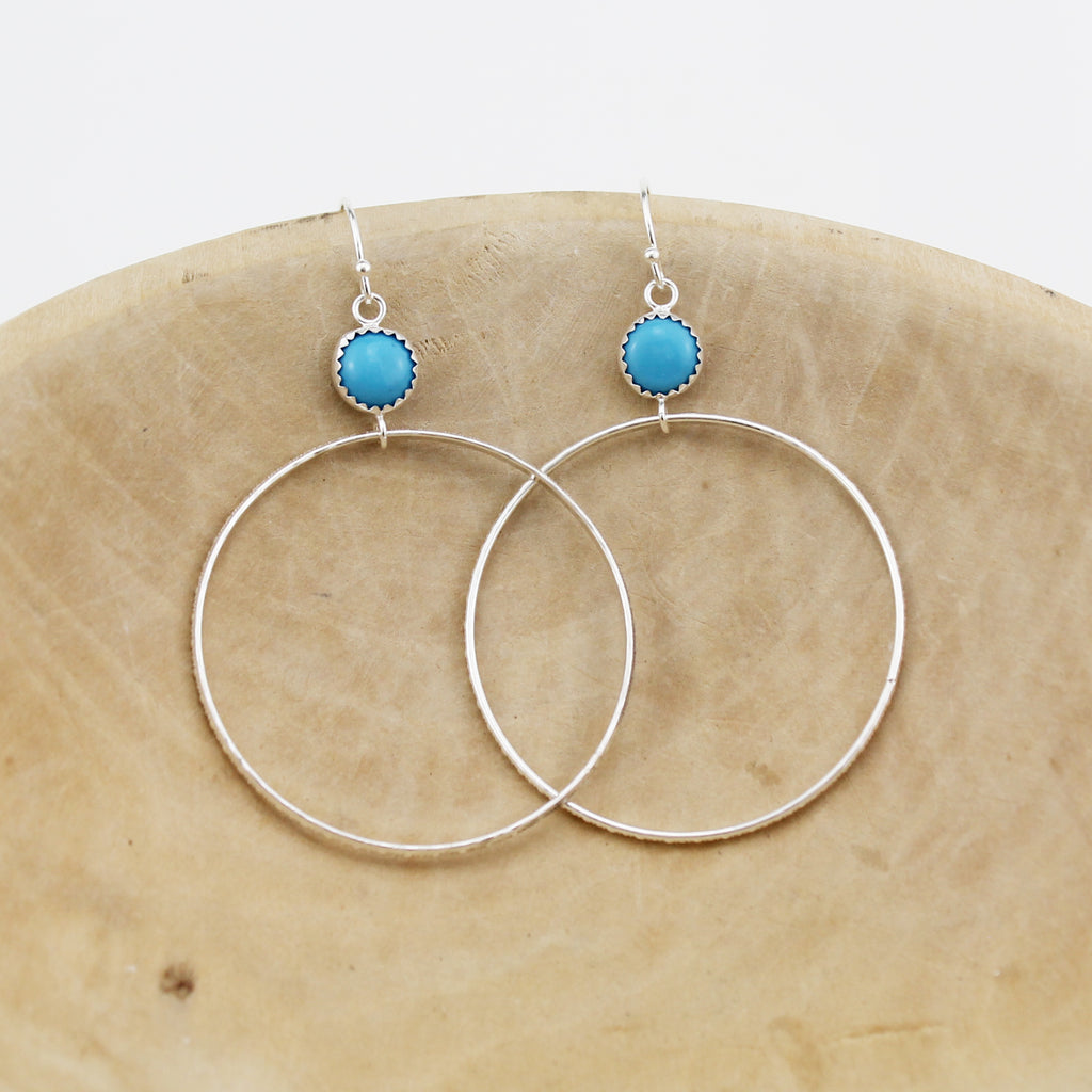 Sterling silver with semi precious stones Turquoise hoop earrings, handmade by Lucy Kemp Jewellery