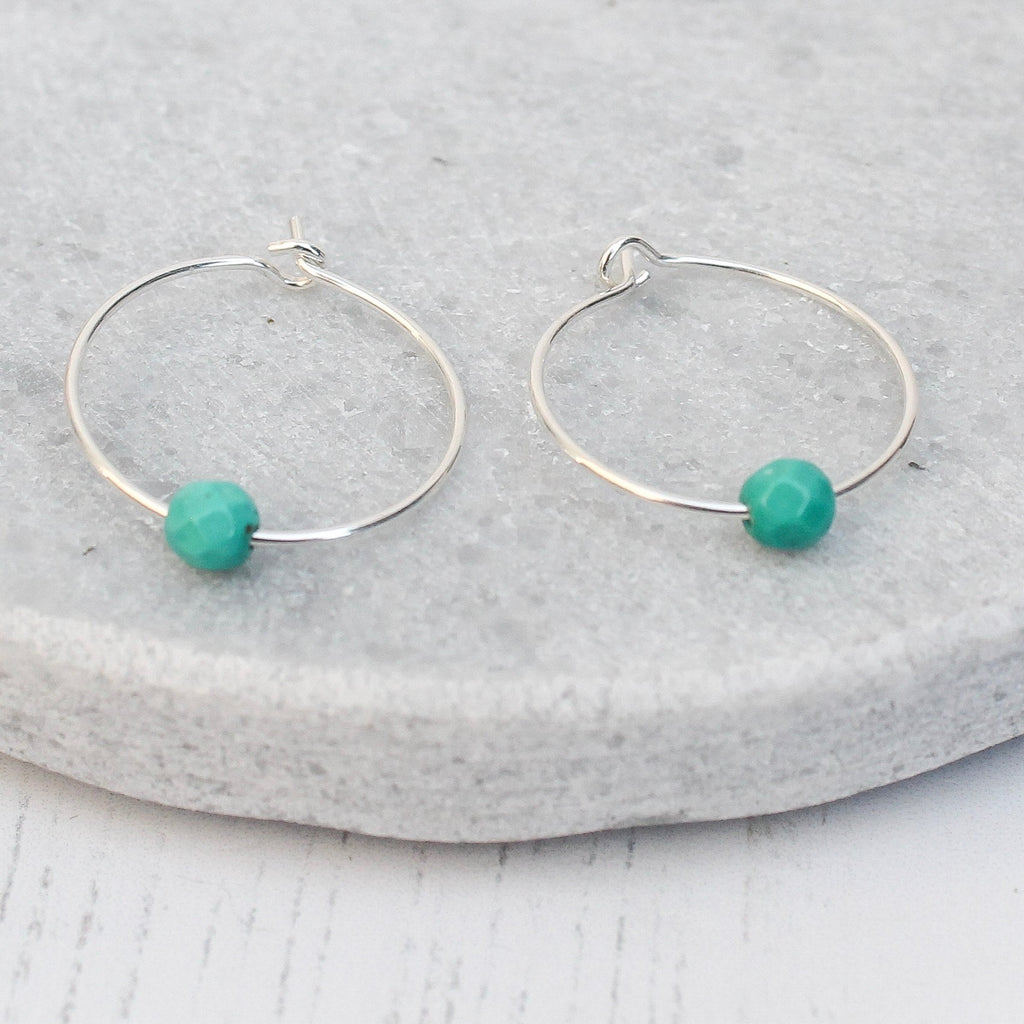 Sterling silver £10 hoop with turquoise bead handmade by Lucy Kemp Jewellery
