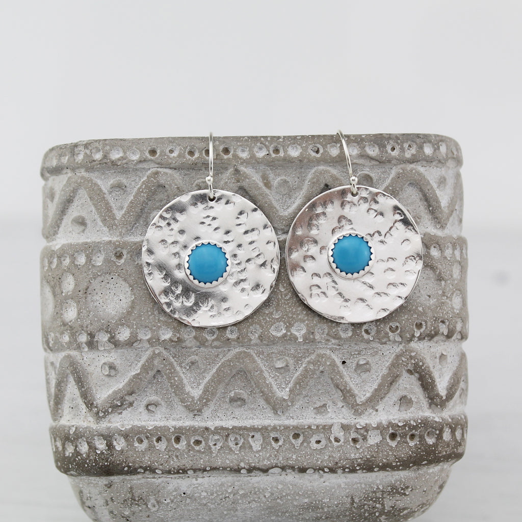 Sterling silver statement shield earrings with semi precious stones Turquoise handmade by Lucy Kemp Jewellery