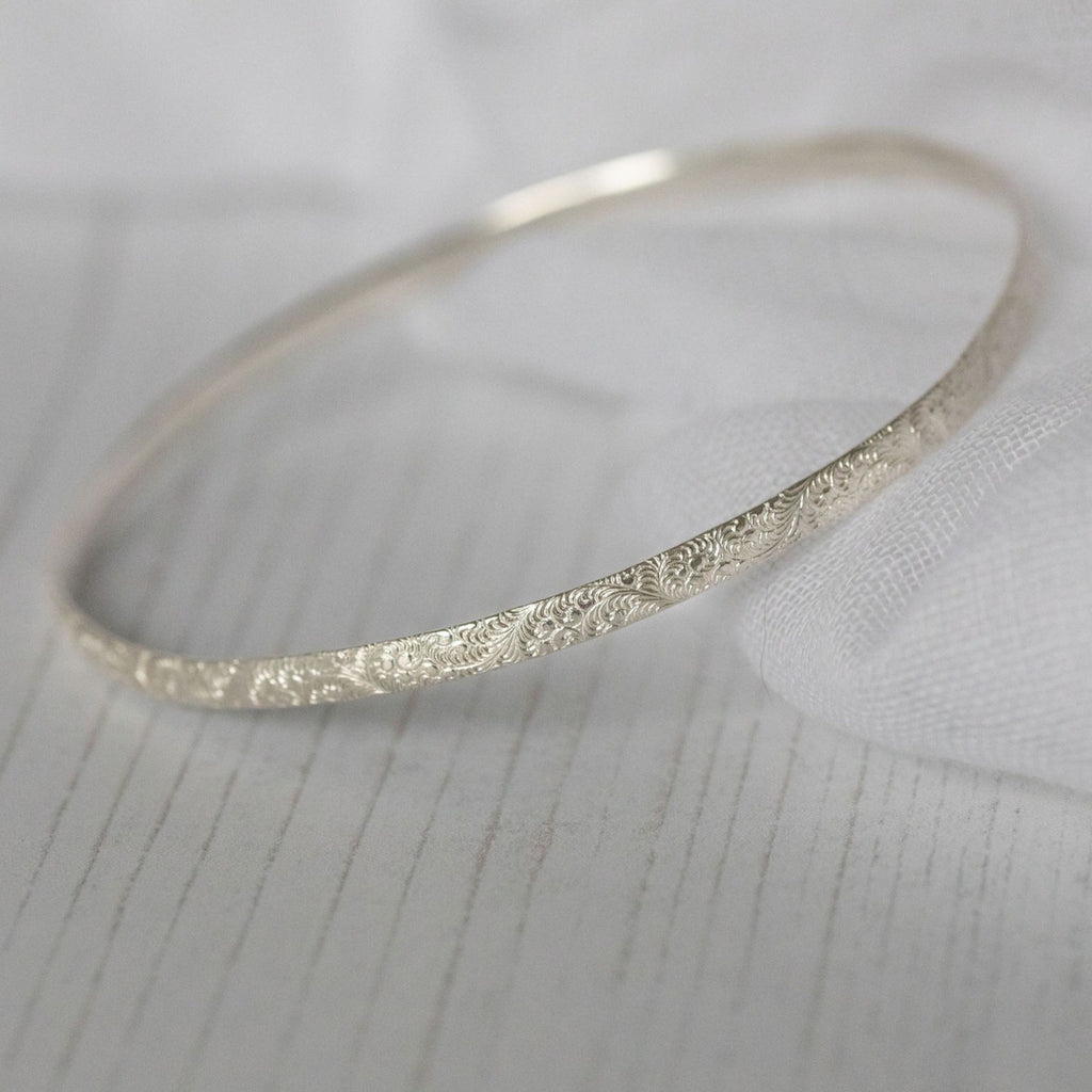 recycled sterling silver lace textured bangles handmade by Lucy Kemp Jewellery