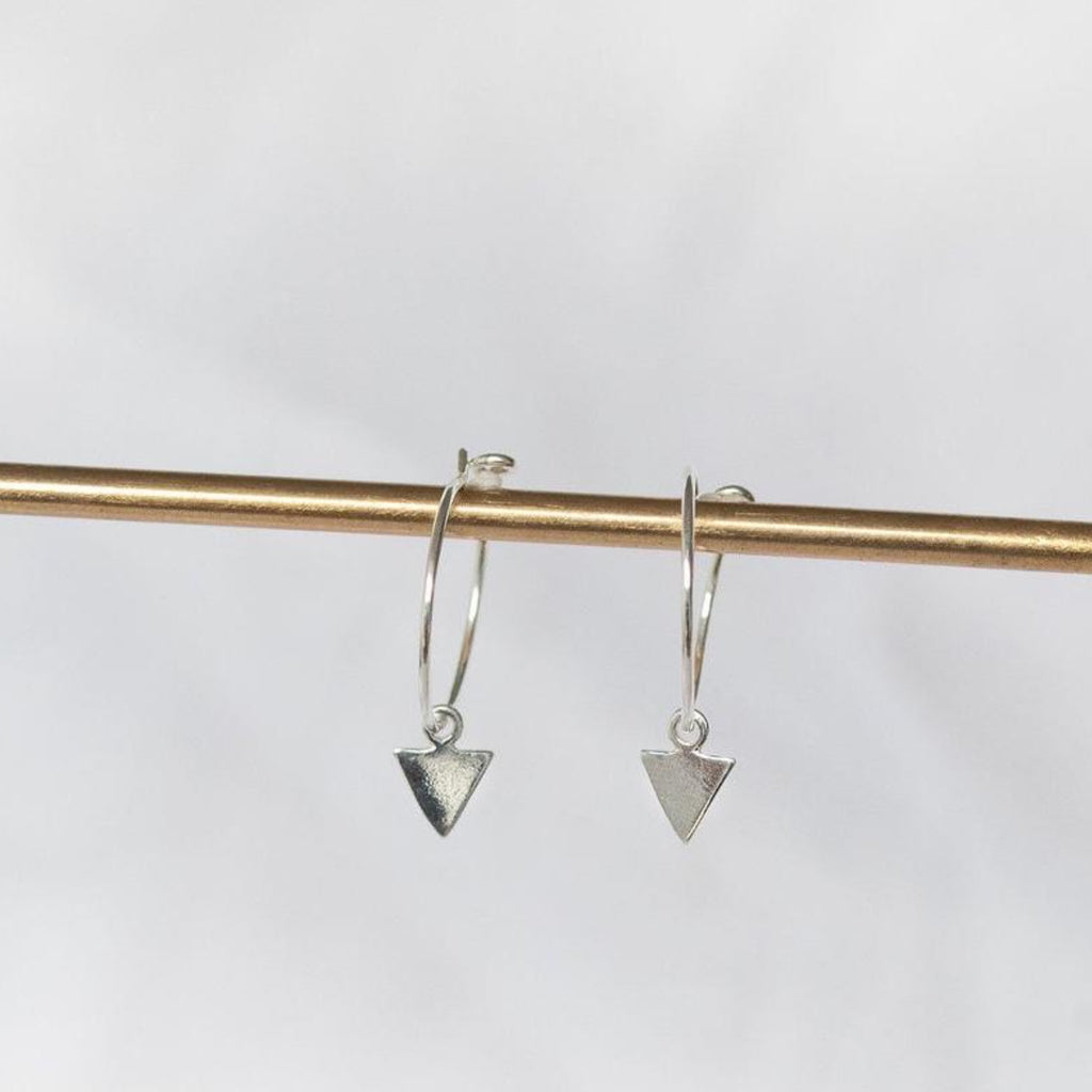 arrow charm hoops sterling silver Lucy Kemp jewellery Cornwall