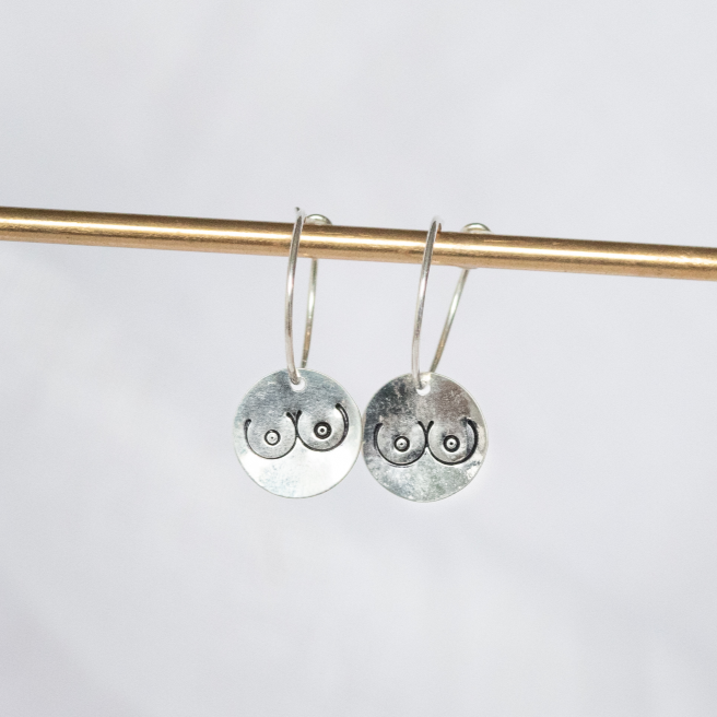 Sterling Silver Boobs Charm Hoops