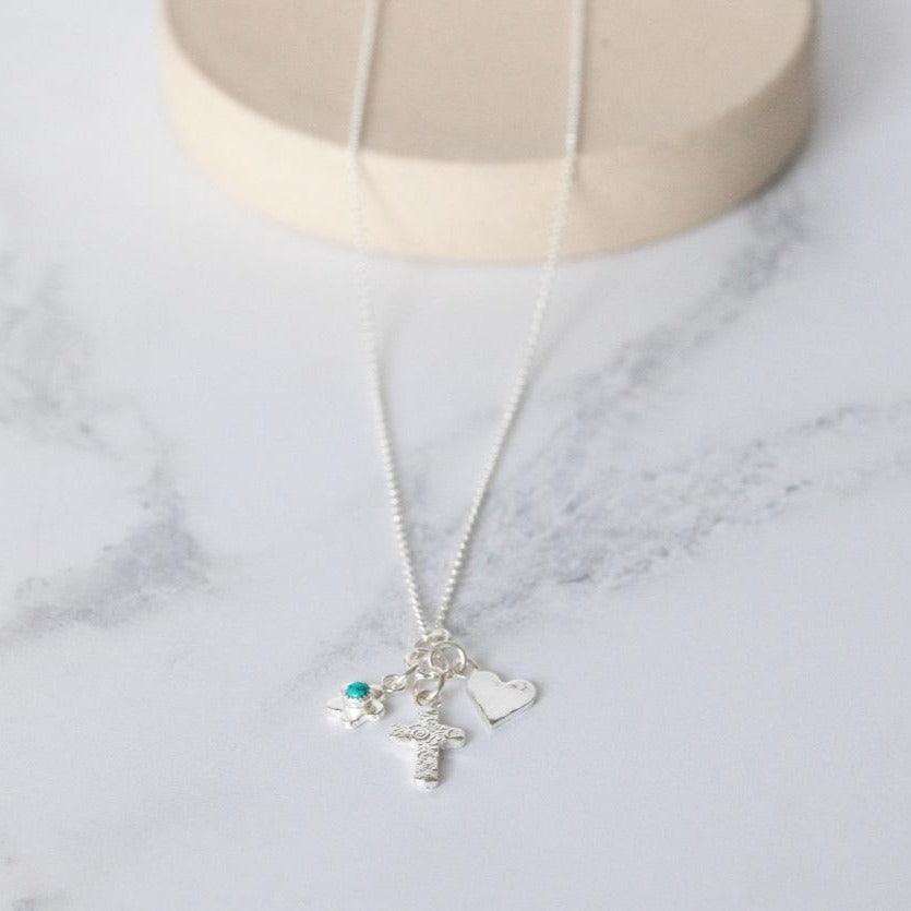 Sterling Silver Christening Charm Necklace with Birthstones