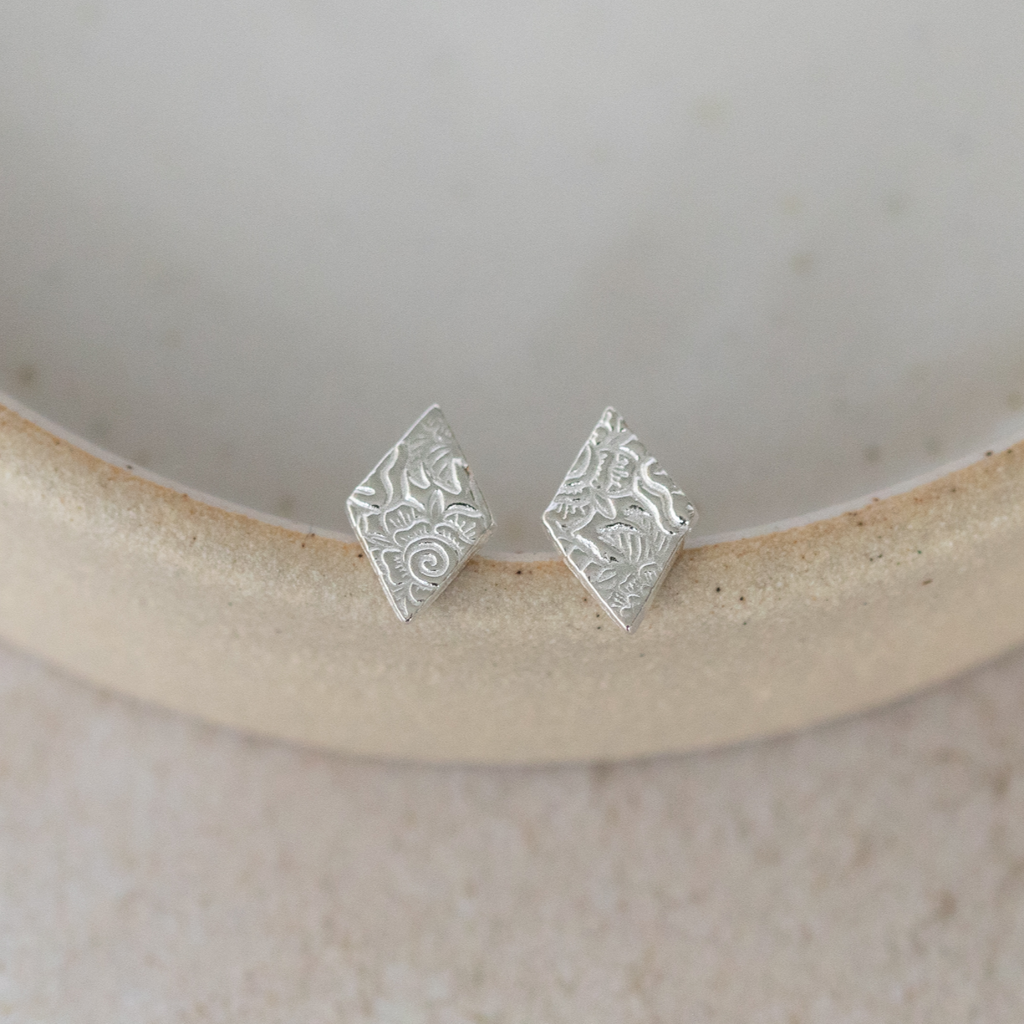 Sterling Silver Textured Diamond Studs