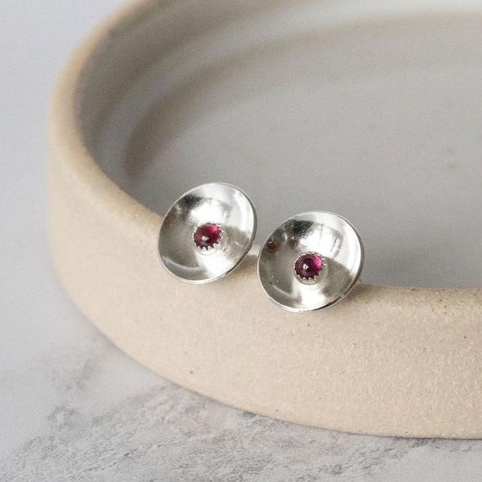 Sterling Silver Birthstone Dome Studs
