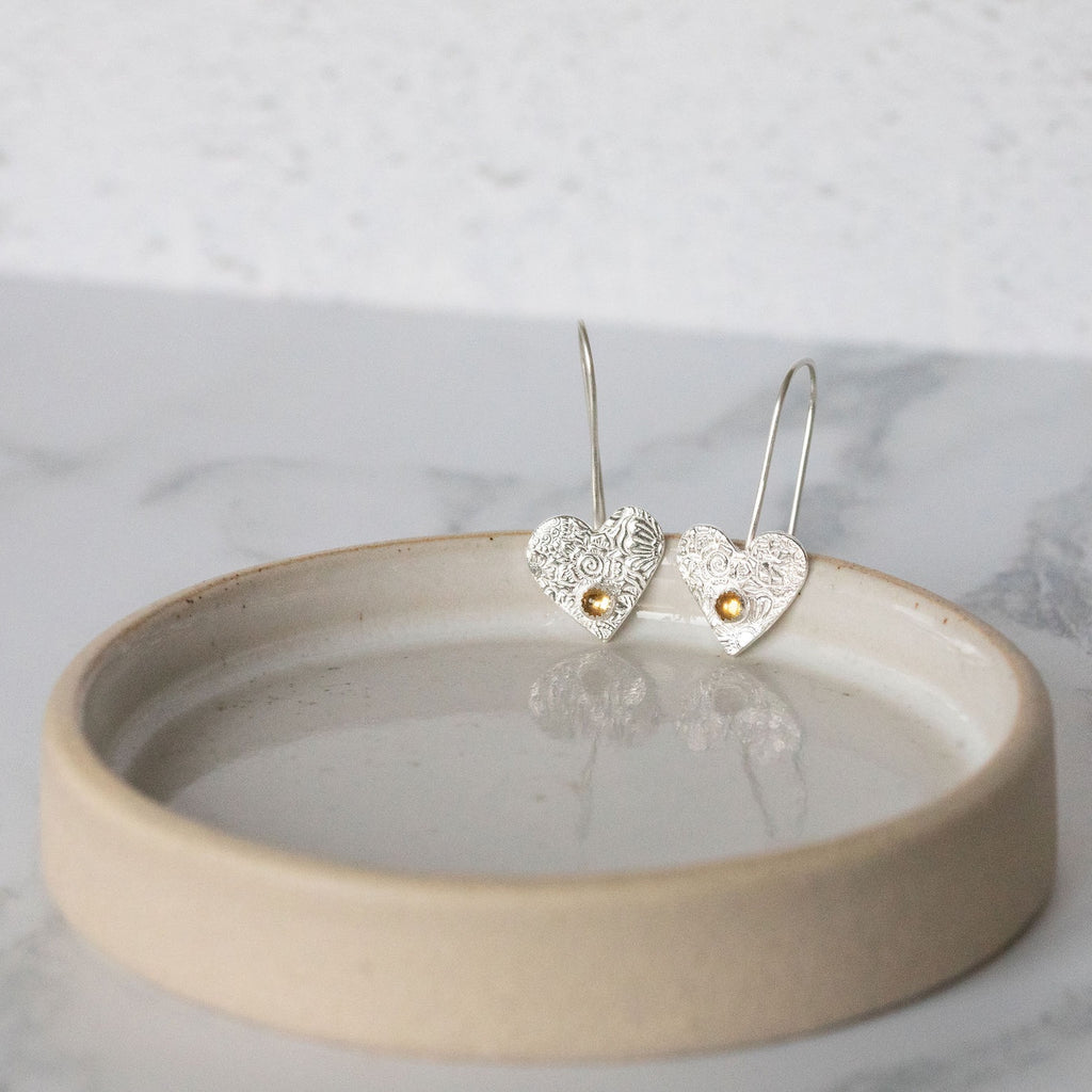 Sterling silver heart birthstone earrings handmade by Lucy Kemp Jewellery