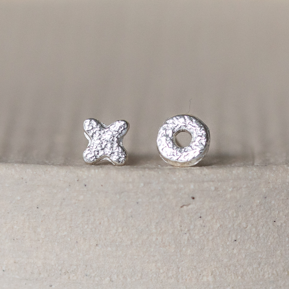 Sterling Silver Mini Studs Hugs and Kisses