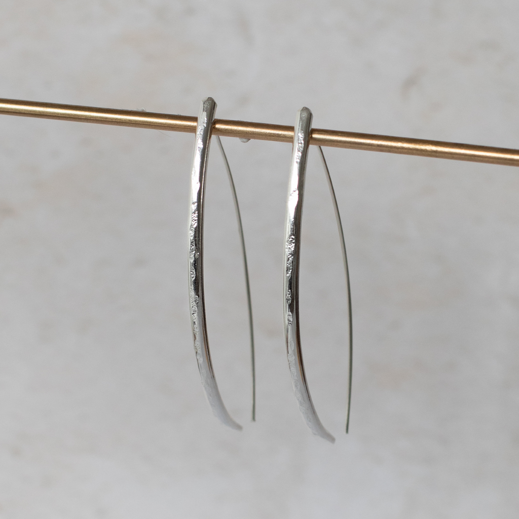 Sterling Silver Long D Earrings