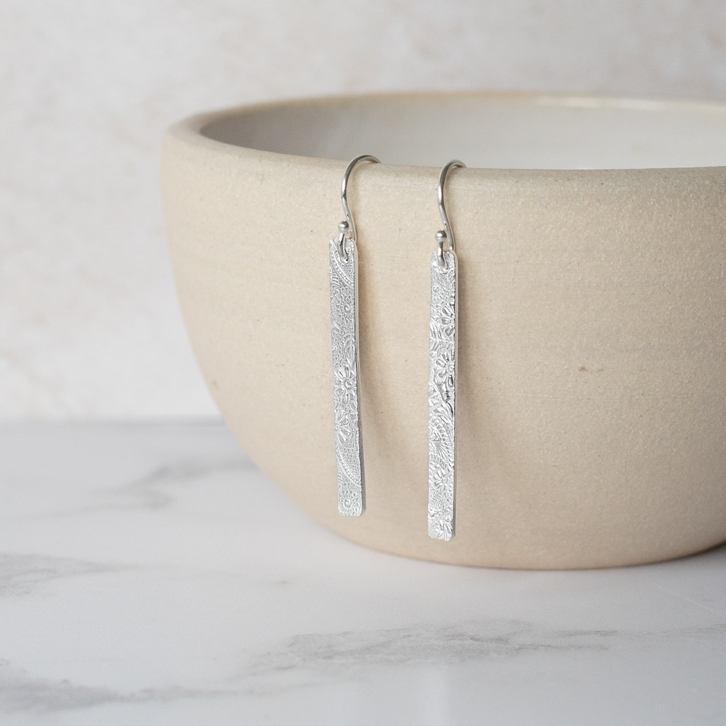 Sterling Silver Textured Long Rectangle Earrings