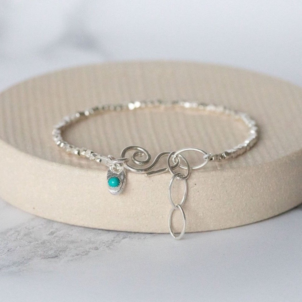 Sterling Silver Mini Nugget with Birthstone Bracelet