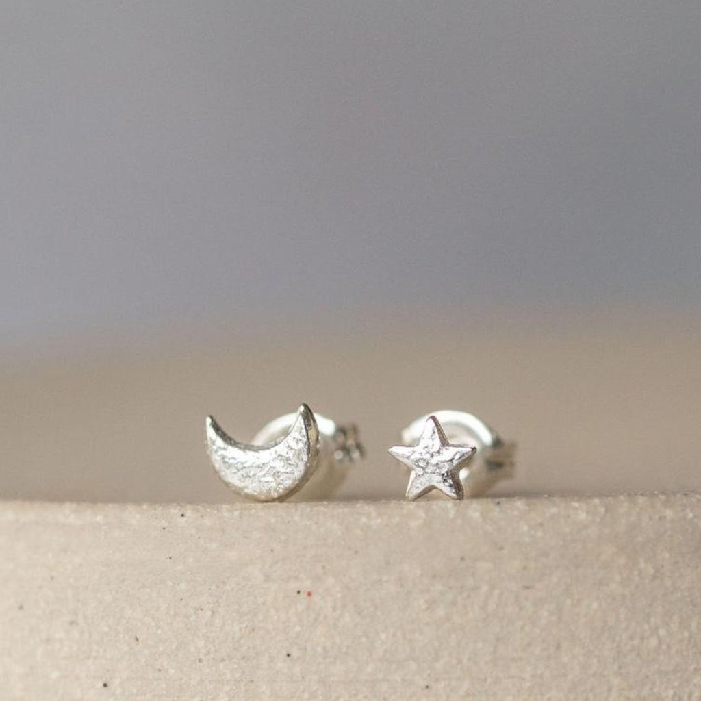 Sterling Silver Mini Studs Mismatch Moon and Star