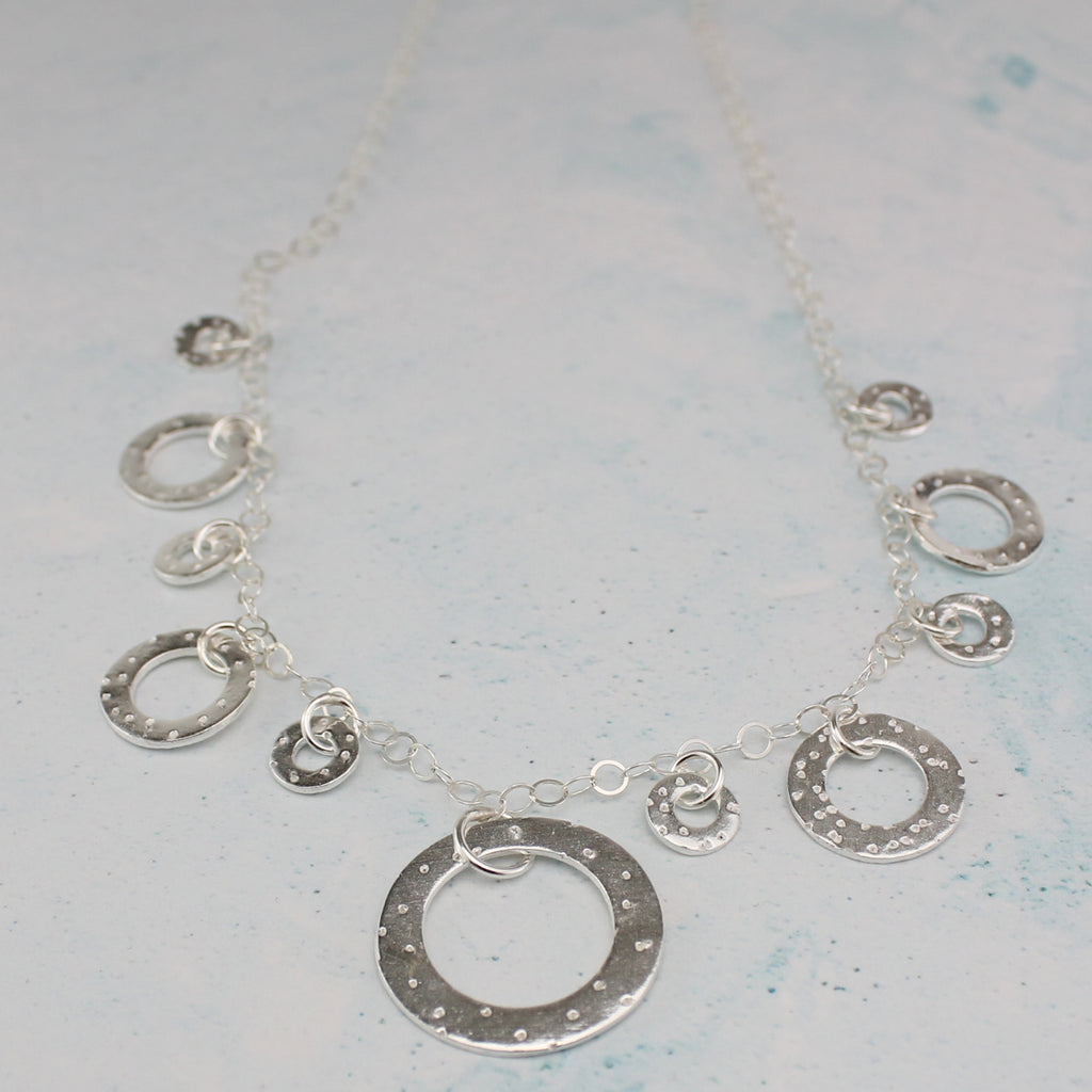 Sterling silver large circle necklace, statement necklace by Lucy Kemp Jewellery