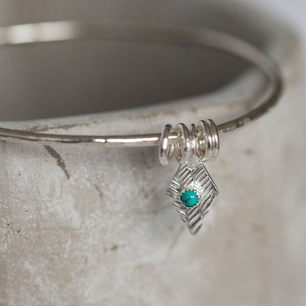 Sterling Silver Diamond and Turquoise Charm Bangle