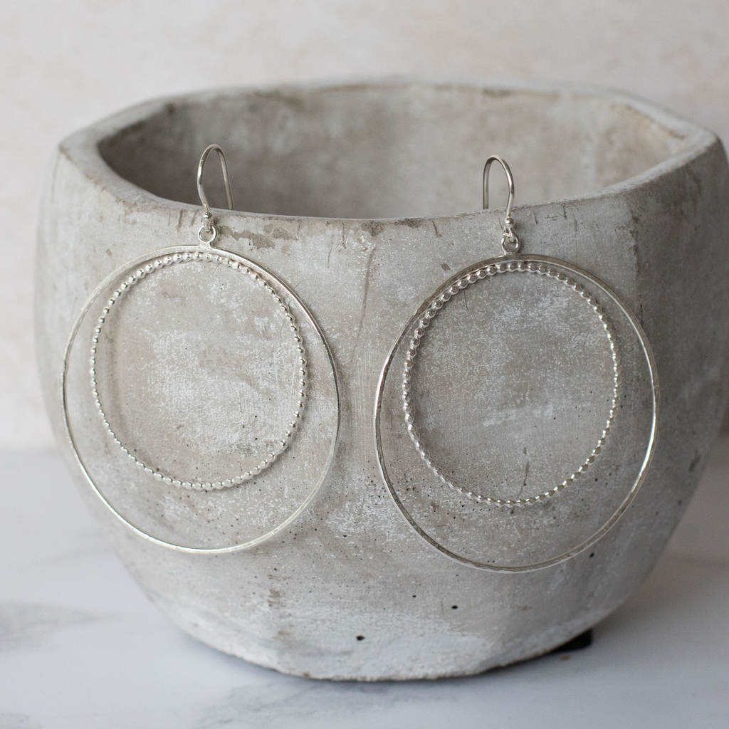 Sterling Silver Two Circle Hoop Earrings