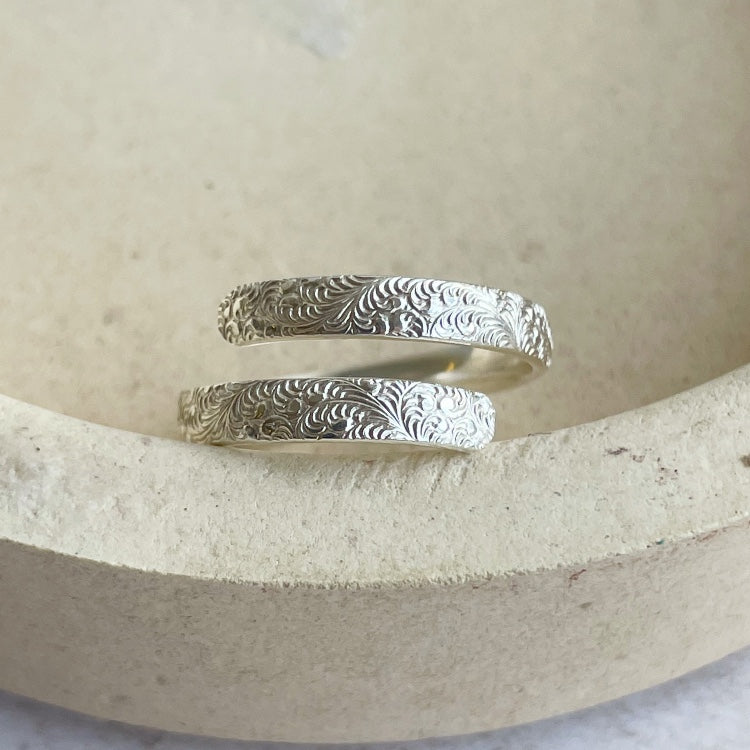 recycled sterling silver lace wrap around adjustable thumb ring handmade by Lucy Kemp Jewellery