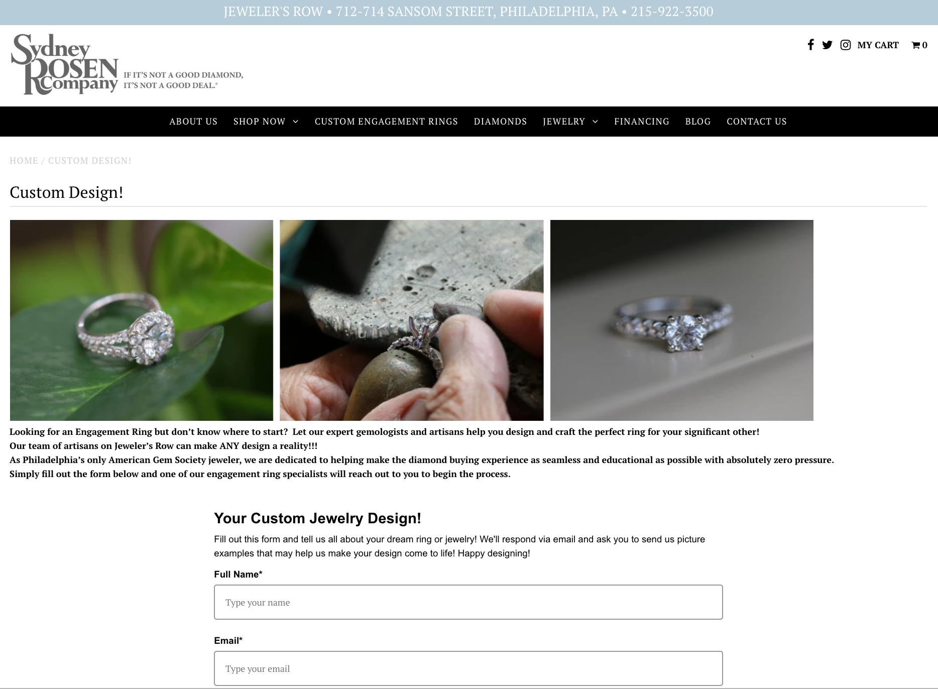 Custom Jewelry Design at Sydney Rosen
