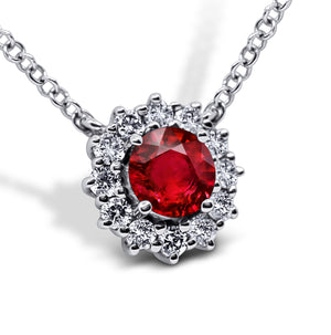 Ruby and Diamond Halo Necklace - Sydney Rosen