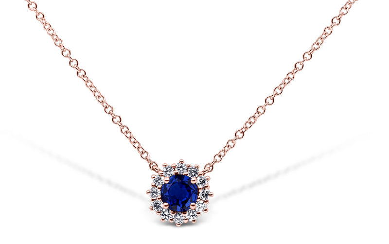 Sapphire and Diamond Halo Necklace - Sydney Rosen