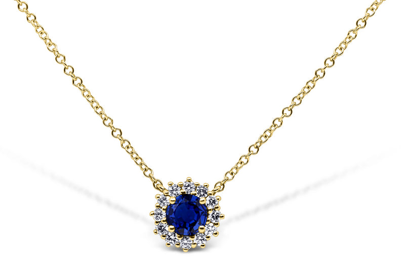 Sapphire and Diamond Halo Necklace