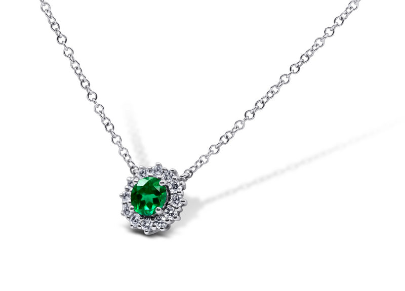 Emerald and Diamond Halo Necklace - Sydney Rosen