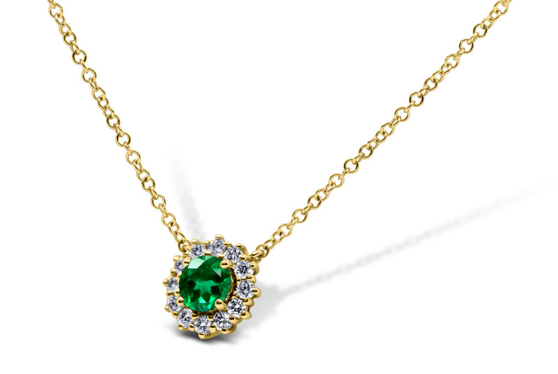 Emerald and Diamond Halo Necklace