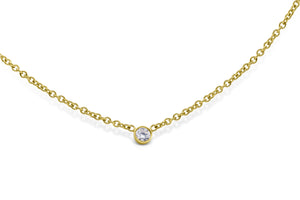 Bezel Set Solitaire Diamond Necklace - Sydney Rosen