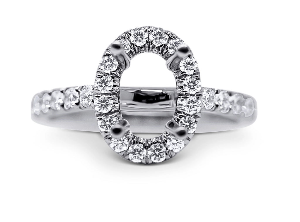Oval Halo Style Diamond Engagement Ring Setting