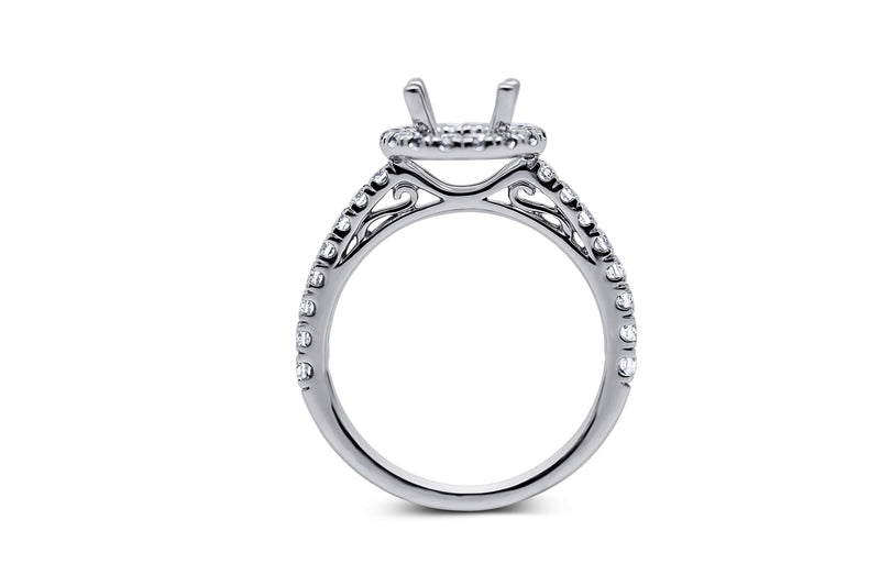 Cushion Halo Style Diamond Engagement Ring Setting - Sydney Rosen