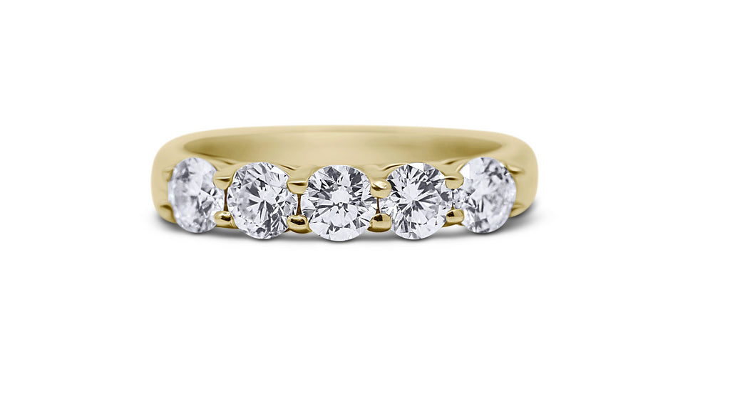 5-Stone Wedding Ring with Airline - Sydney Rosen