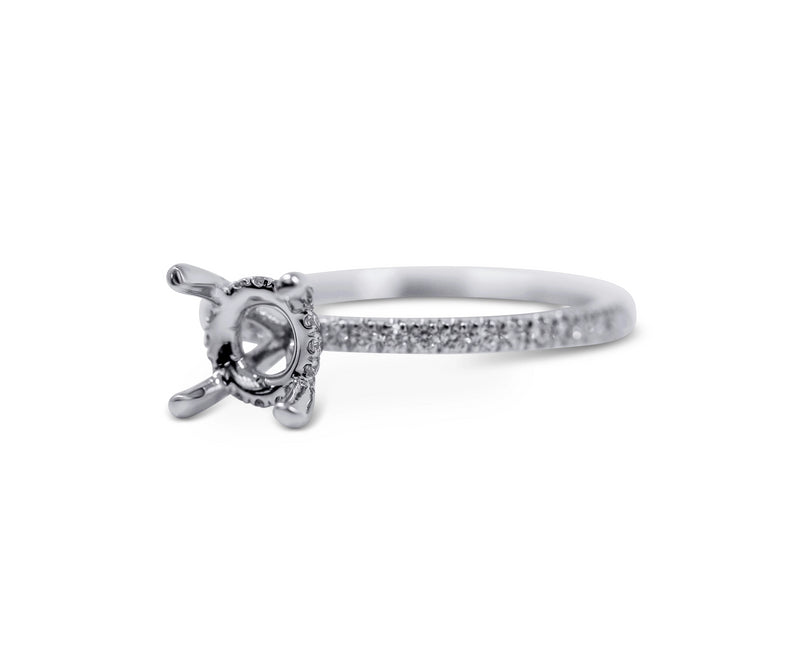 Pave Diamond Engagement Ring Setting with Hidden Halo