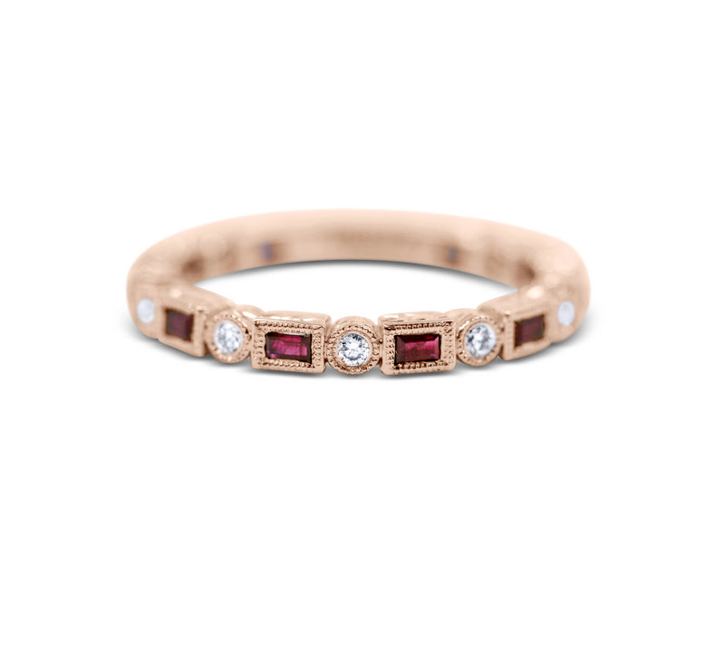 Diamond Stack Ring - Ruby and Diamond - Sydney Rosen