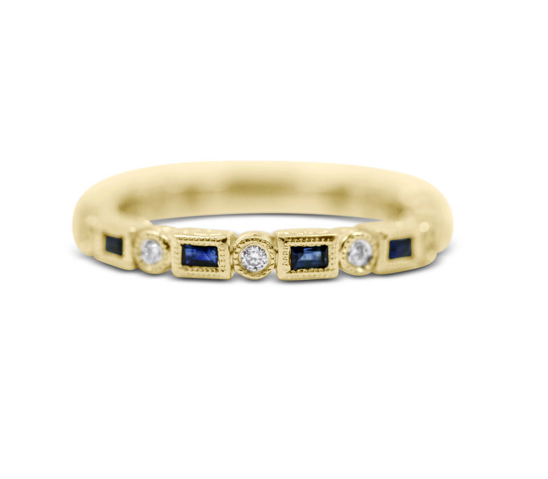 Diamond Stack Ring - Sapphire and Diamond - Sydney Rosen