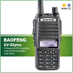 8W Max Long Range Two Way Radio Scanner Transmit Police Fire Rescue Dual Band Ham Walkie Talkie UV-82plus