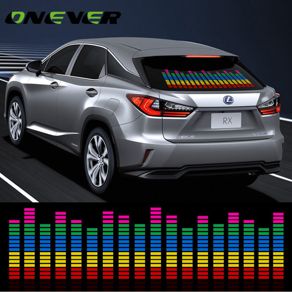 90*25CM Car Music Rhythm LED Decoration Flash Light Music Activated Equalizer Voice Sound Control Music Lamp Car Styling Sticker