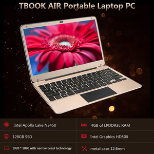 "TBOOK AIR Laptop Notebook PC 12.5"" for Intel Apollo Lake N3450 Processors 4GB LP DDR3 128GB SSD Graphics HD500 with Fingerprint"