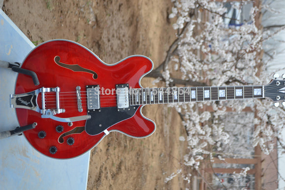 Red Classic Semi Hollow ES335 Jazz Guitar +Bigbys Tremolo system Silver hardware High Quality Musical instruments Free Shipping