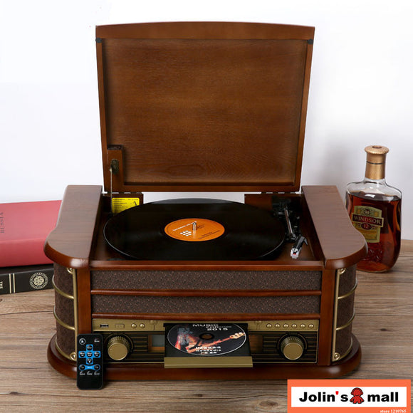 2017 version Ancient classical solid wood phonograph stereo LP vinyl player home decoration with  bluetooth/FM/CD/AUX/USB 220V