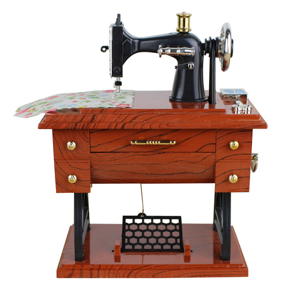 Vintage Sewing Music Box Musical Toy Sewing Machine Music Sartorius Model Play Creative Gift