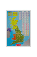 Phonix Football Stadium Poster and Scratch Off Map (Large) Reveal Teams, Grounds, Pitches for England, Scotland, Wales | Premier, Championship, League One and Two