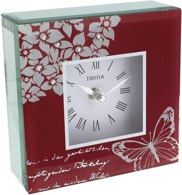 White Butterfly & Flowers on a Red Background Square Mantel Clock 14 CM