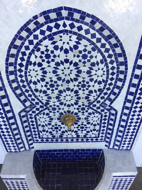 Moroccan wall mosaic tile fountain