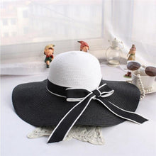 Load image into Gallery viewer, Hepburn Wind Black White Summer Sun Hat