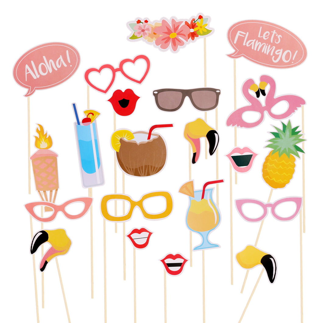 21pcs Summer Party Photo Booth Props