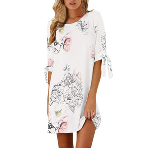 Summer Casual Floral White Dress