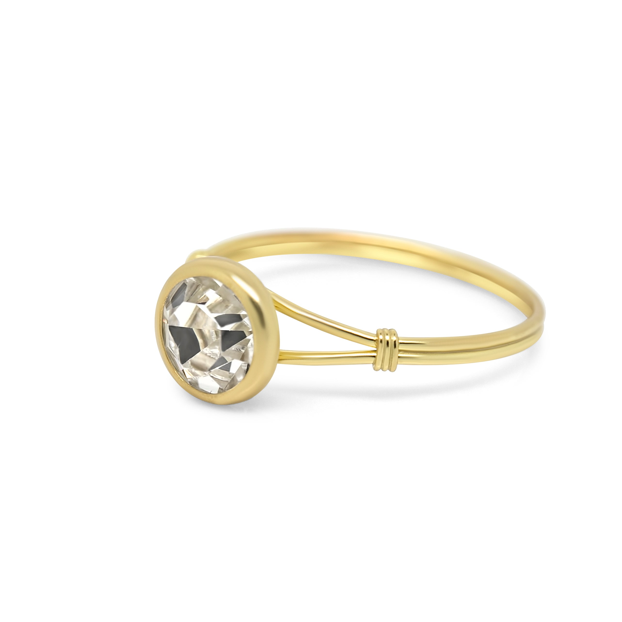 Lucia Solitaire Sterling Silver & Gold Plated Ring